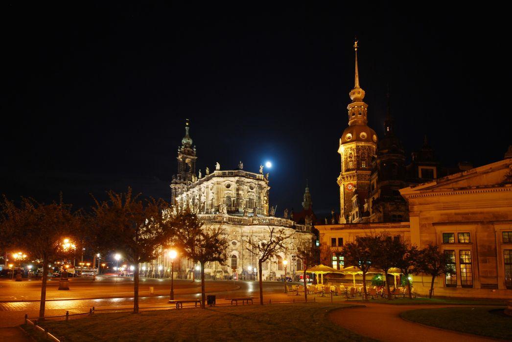 Germany Sachsen Dresden Night Street Cities wallpaper