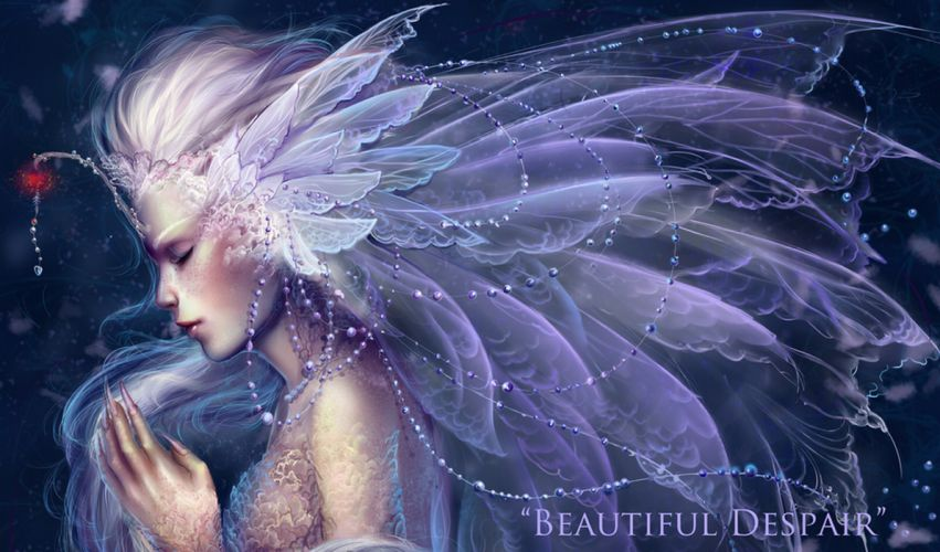 Girl wings beads beads nails stones feathers fairy mood g wallpaper
