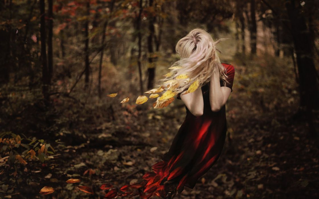 girl fall leaves autumn witch fantasy mood gothic     g wallpaper