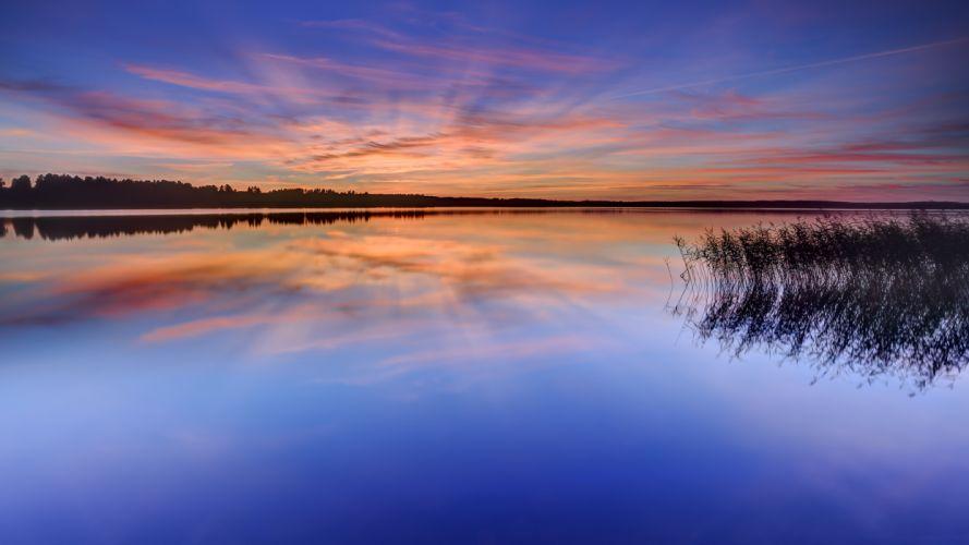 water lake quiet Karlstad Sweden wallpaper