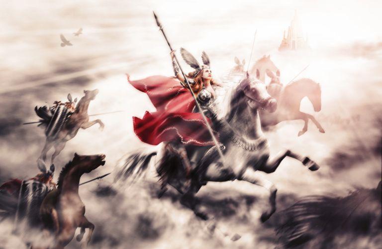 Warriors Horses Spear Fantasy Girls wallpaper