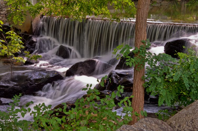 waterfall rocks trees nature wallpaper