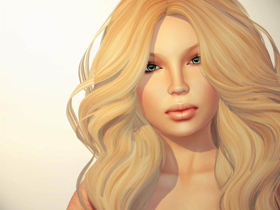3D Graphics Girls Blonde girl Hair Glance Face wallpaper