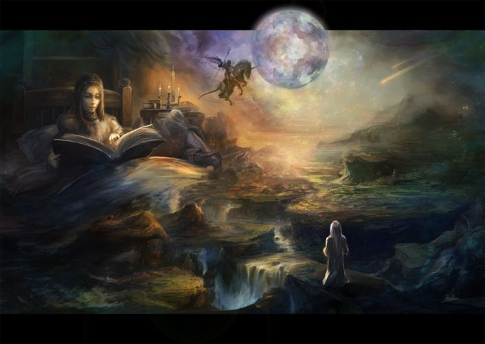art book moon bed girl fairy landscape comets rider wings unicorn candle t wallpaper