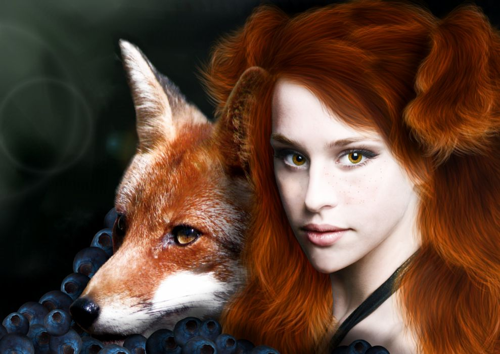 Foxes Redhead girl Hair Face Animals Girls wallpaper