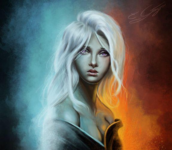 Game of Thrones Painting Art Blonde girl Glance Movies Girls wallpaper