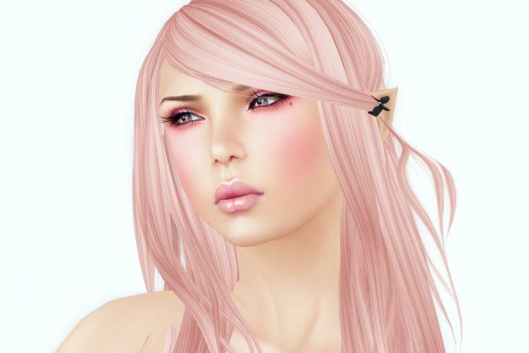 Girls Face Blonde girl Glance wallpaper