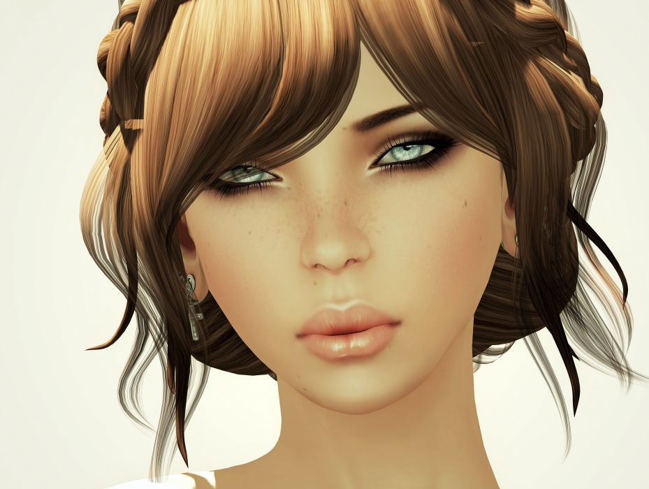 Girls Face Brown haired Glance Hair wallpaper