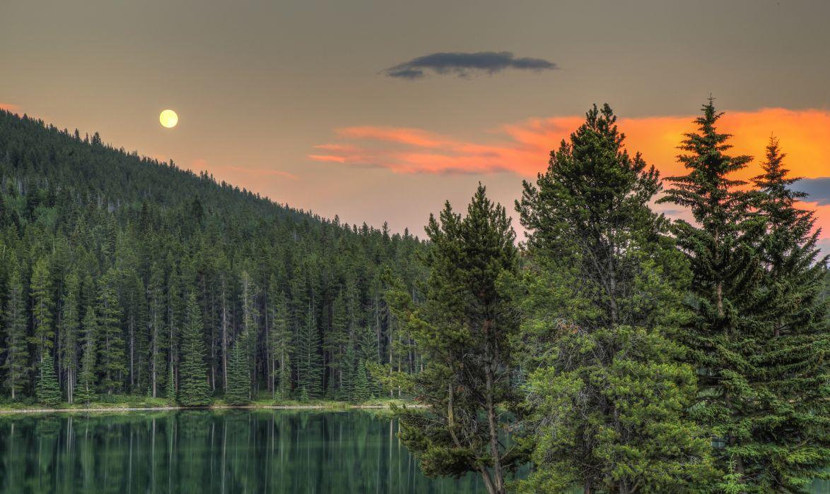 Alberta Canada Lake Forest Sunset Trees Wallpaper