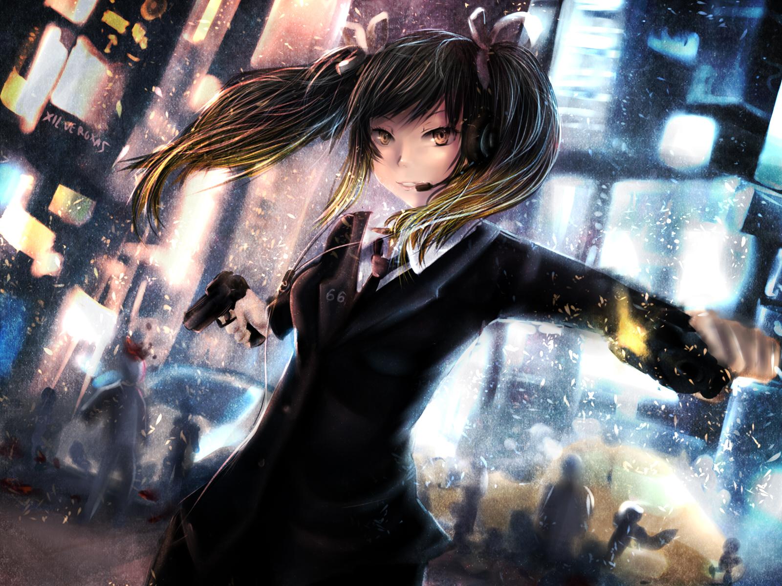 Download 2880x1800 Anime Cat Headphones Short Fondos De Pantalla