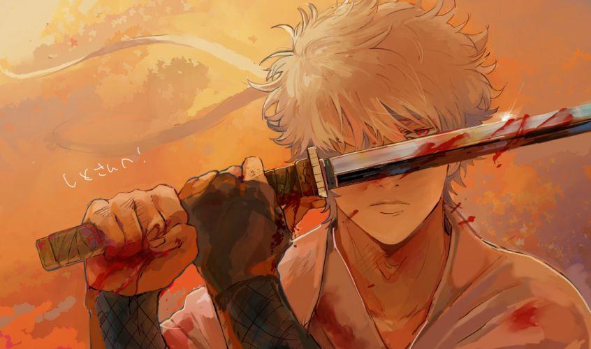 Gin Tama katana blood warrior wallpaper