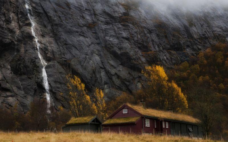 house rock fall autumn wallpaper
