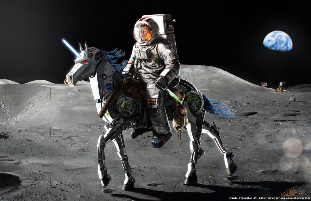 John F Kennedy WTF Astronaut Moon Earth Horse Unicorn Machine wallpaper