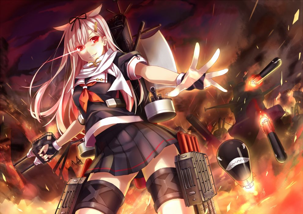 kantai collection bow gloves hika (cross-angel) kantai collection long hair pink hair red eyes seifuku yuudachi (kancolle) wallpaper