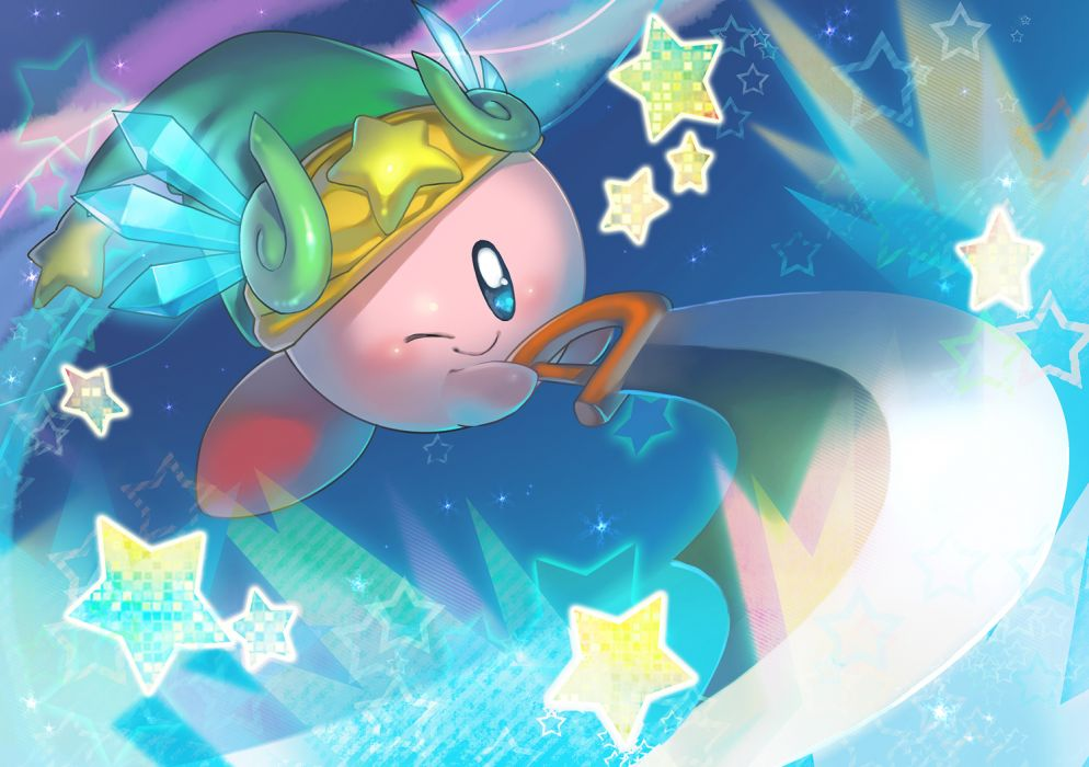kirby babiuxxx blue eyes hat kirby kirby (character) nintendo sword weapon wink wallpaper