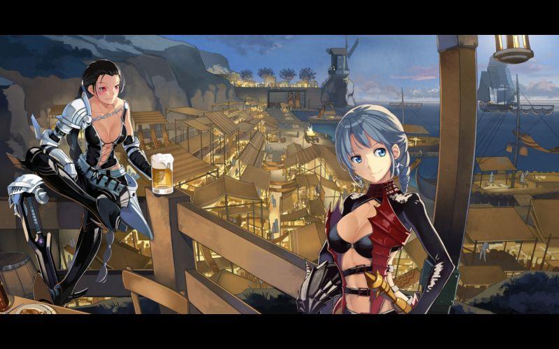 mabinogi girls armor beek black hair blue eyes city cleavage drink gray hair long hair mabinogi red eyes vindictus weapon wallpaper