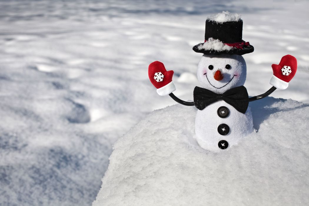 mood winter snow snowman smiling positive butterfly mittens snowflakes wallpaper