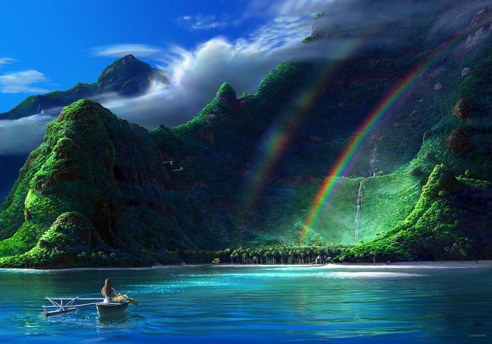 original animal beach bird boat brown hair clouds kagaya landscape original rainbow scenic sky tree water waterfall wallpaper