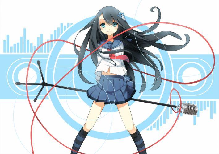 original aoi tsunami black hair blue eyes kneehighs long hair original seifuku wallpaper