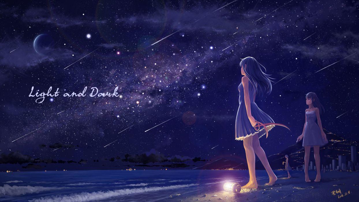 original barefoot black hair brown hair dress night original planet ribbons signed sky stars tyc001x water wallpaper