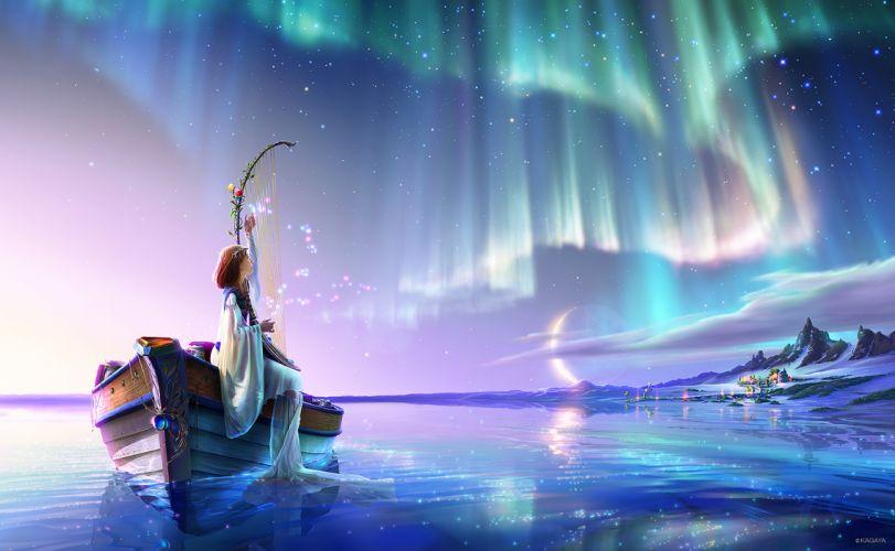 original boat brown hair clouds instrument kagaya landscape moon original scenic sky snow stars water wallpaper