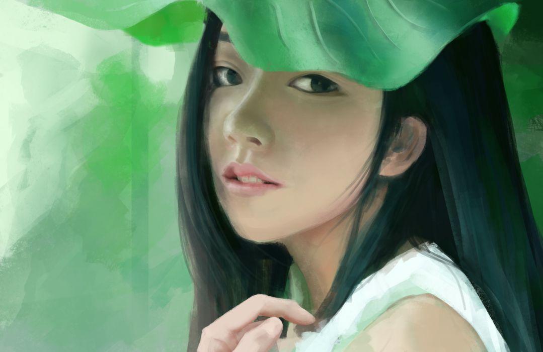 Painting Art Asian Glance Girls wallpaper