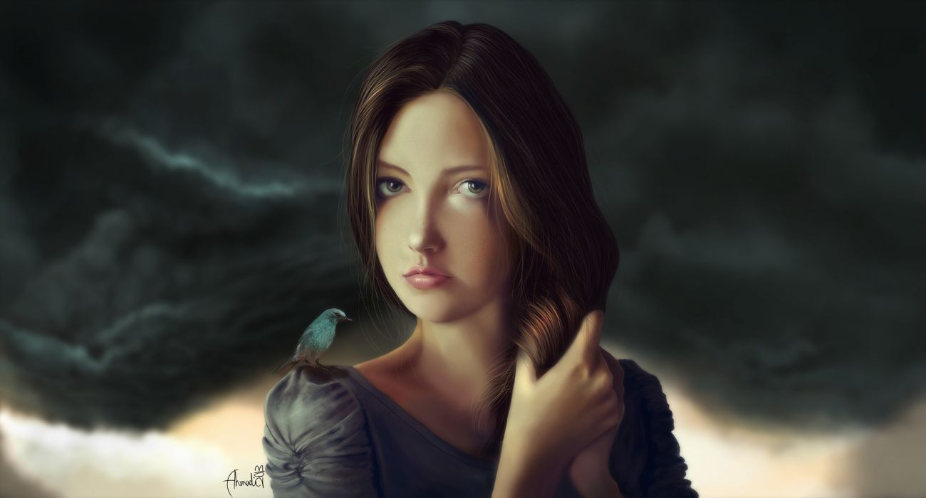 Painting Art Brown haired Glance Face Girls wallpaper