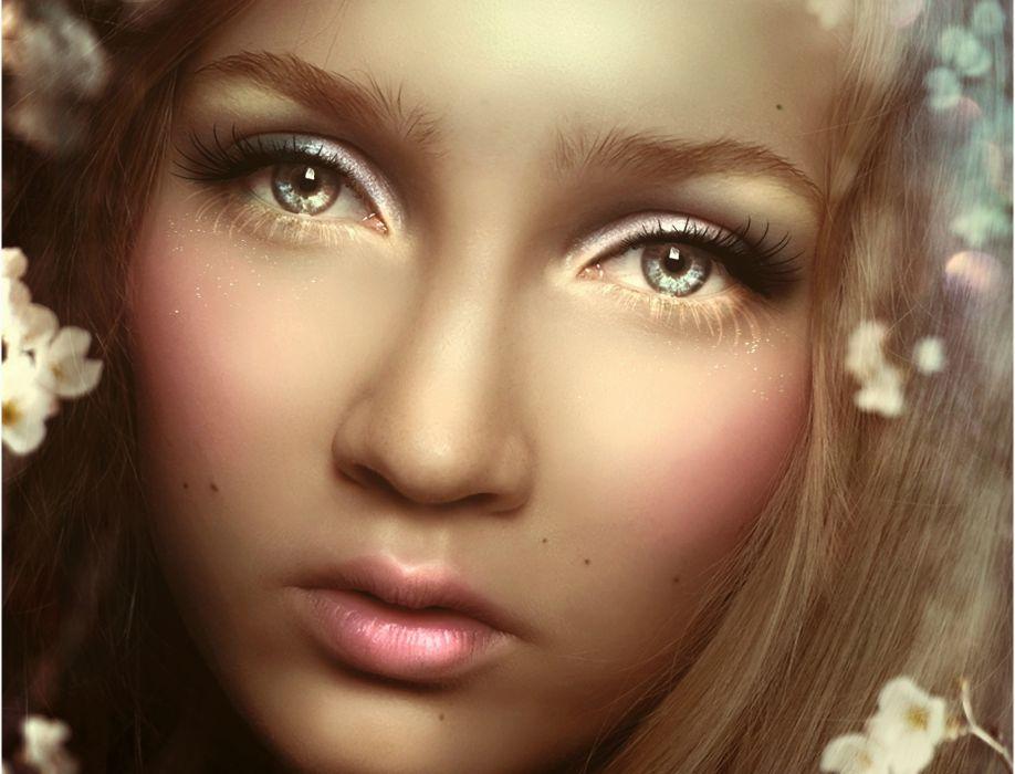 Painting Art Eyes Face Glance Girls wallpaper