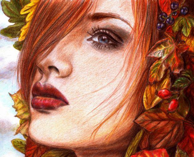 Painting Art Eyes Face Glance Redhead girl Hair Red lips Girls wallpaper