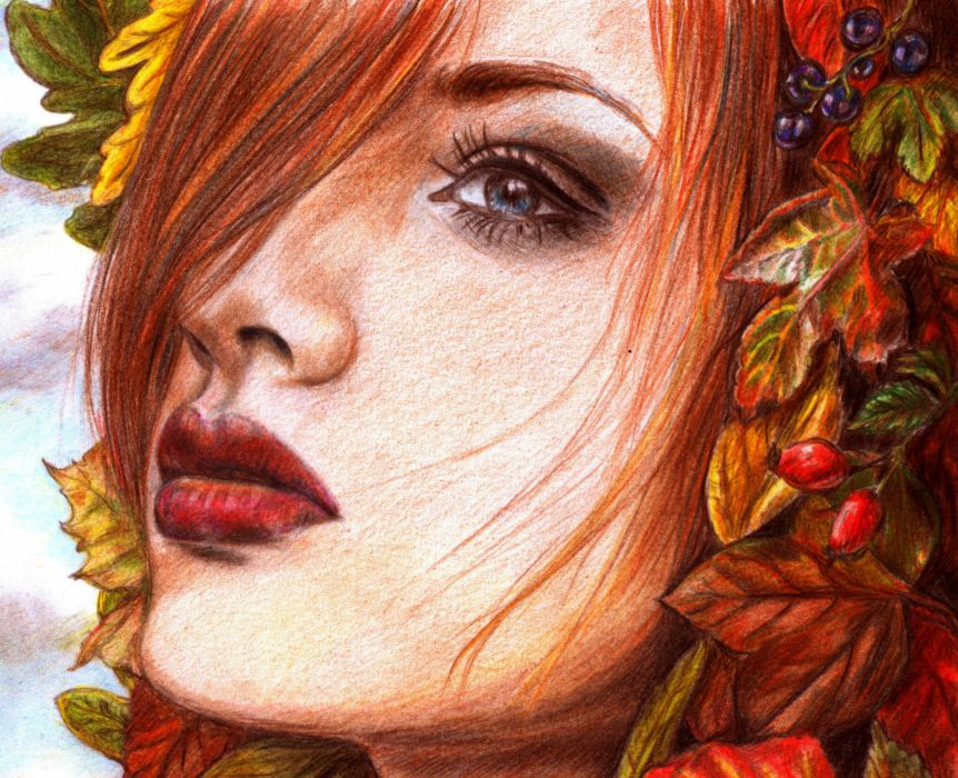 Painting Art Eyes Face Glance Redhead girl Hair Red lips Girls wallpaper