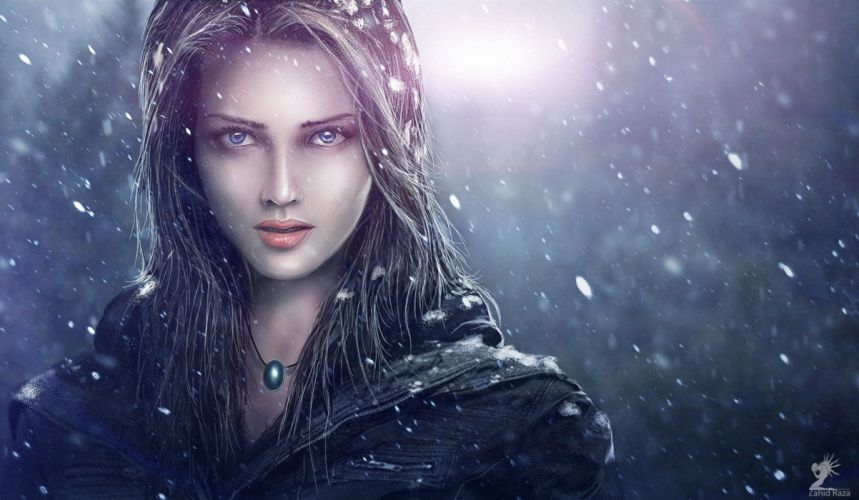 Painting Art Glance Snowflakes Face Girls wallpaper