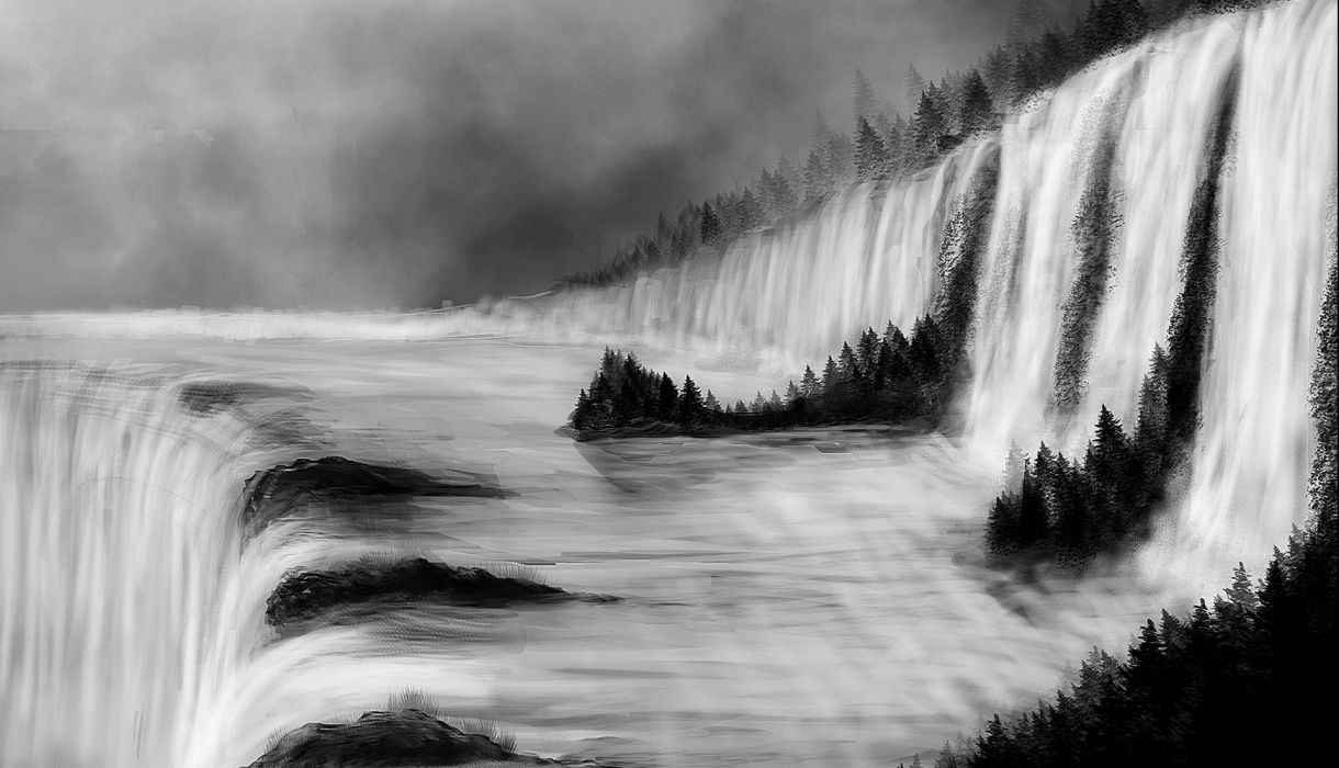 river  forest  waterfall art painting      h wallpaper