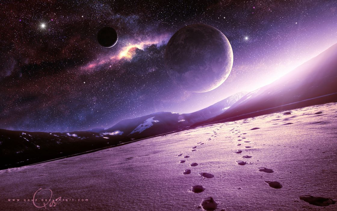 space snow art mountains qauz planet mood wallpaper