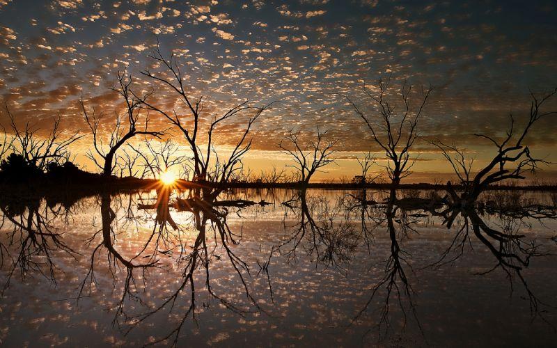 Sunset Sunlight Landscape Trees Lake Reflection wallpaper