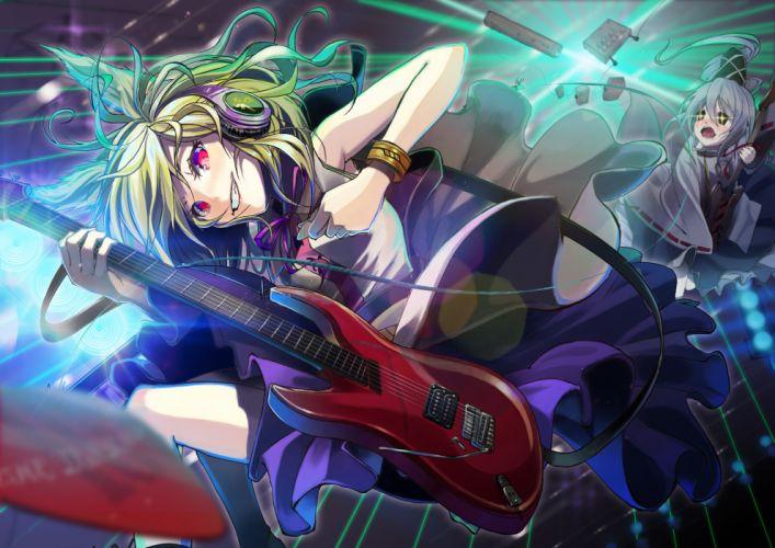touhou blonde hair fukurou (suga0930) gray hair guitar headphones instrument mononobe no futo short hair touhou toyosatomimi no miko wallpaper