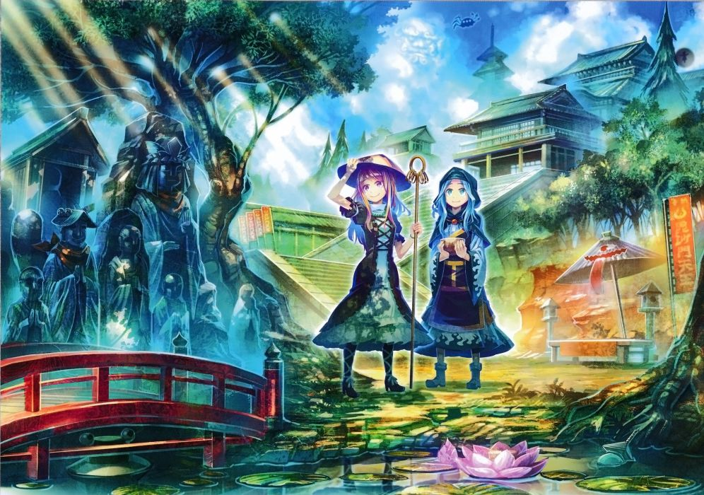touhou boots building clouds dress flowers hat houjuu nue purple eyes purple hair rumia scan sky staff stairs touhou tree umbrella unzan water zounose wallpaper