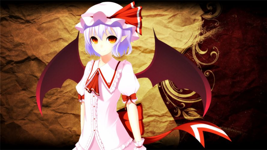 touhou pointed ears purple hair red eyes remilia scarlet ribbons touhou wings wallpaper