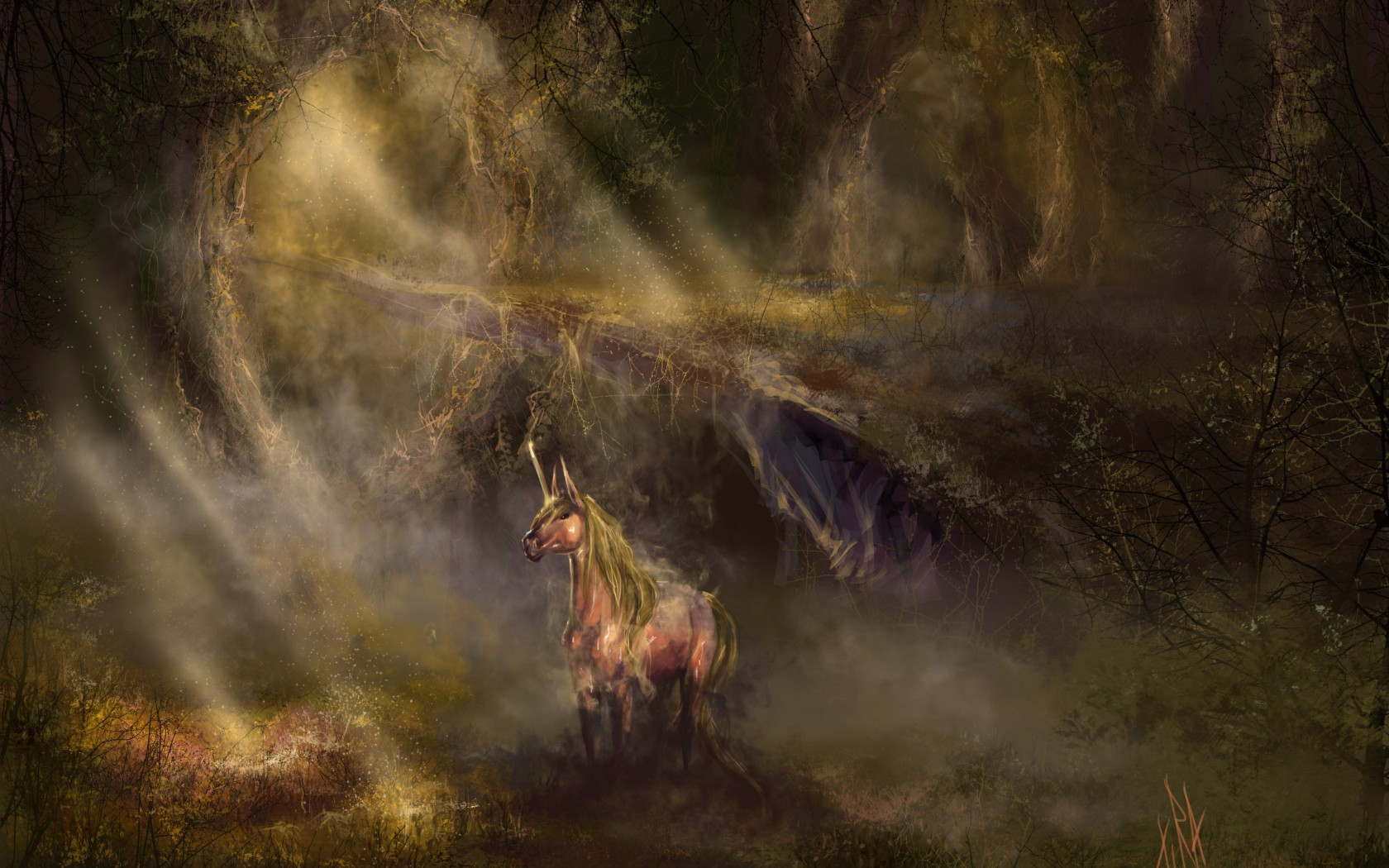 Unicorn Horse Magical Animal Autumn Forest Y J Wallpaper 1680x1050 172467 Wallpaperup