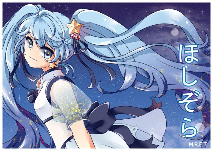 vocaloid blue eyes blue hair hatsune miku long hair m_r_e_t ribbons twintails vocaloid watermark wallpaper