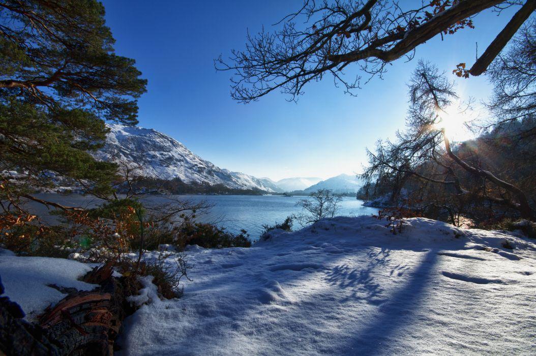 winter mountain forest lake wallpaper