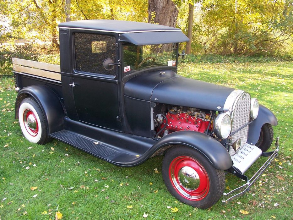 1928 Model-A Ford pickup hot rod rods retro engine      h wallpaper