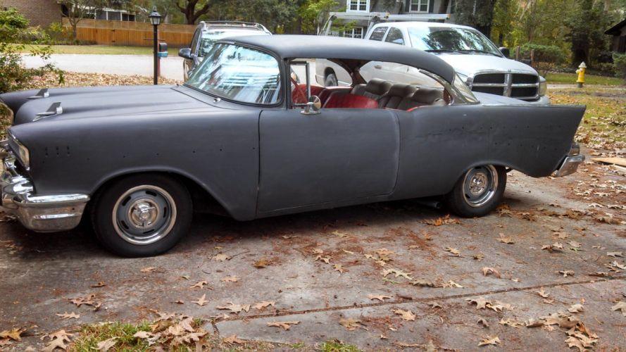 1957 Chevy 2dr hardtop hot rod rods retro custom g wallpaper