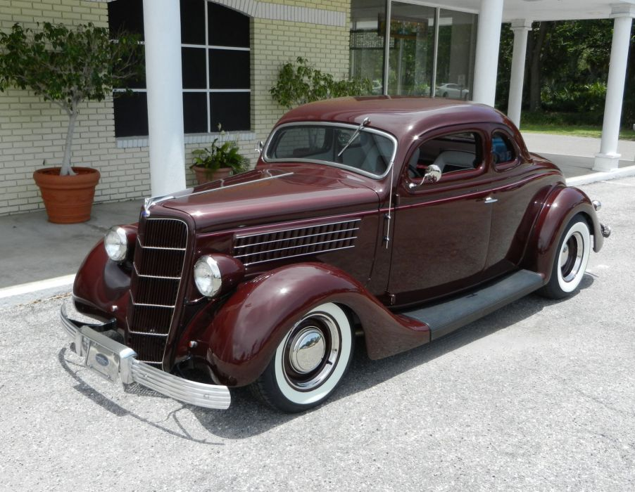 1935 FORD 5-WINDOW COUPE HOT ROD rods retro custom  f wallpaper