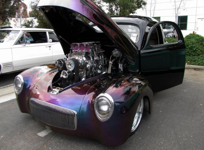 1941 Willys Coupe hot rod rods retro engine w wallpaper