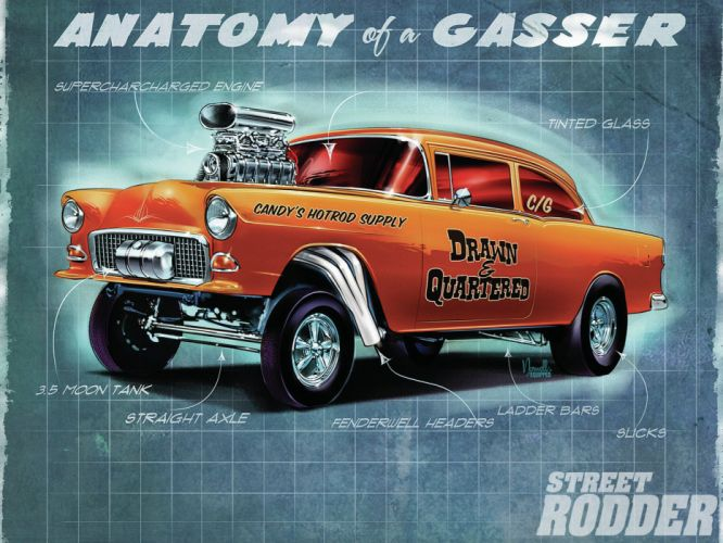 1955 CHEVROLET hot rod rods retro drag racing race gasser e wallpaper