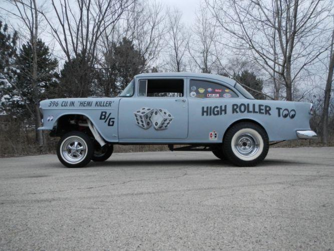 1955 CHEVROLET hot rod rods retro drag racing race gasser du wallpaper