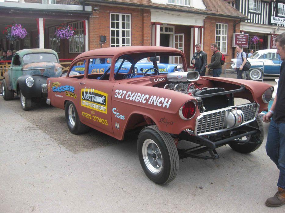 1955 CHEVROLET hot rod rods retro drag racing race gasser engine    d wallpaper
