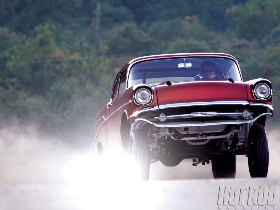 1957 CHEVROLET hot rod rods retro drag racing race gasser  da wallpaper