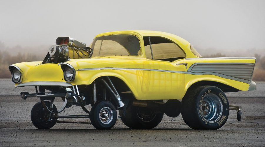 1957 CHEVROLET hot rod rods retro drag racing race gasser engine f wallpaper