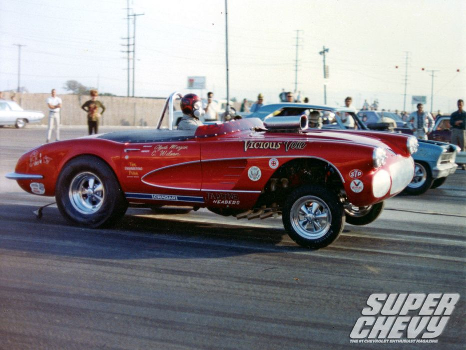 CHEVROLET CORVETTE hot rod rods drag racing race gasser  f wallpaper